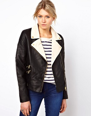 Image 1 ofOasis Colour Block Leather Look Biker Jacket