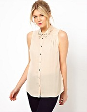 Oasis Shirt With Pearl Collar