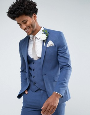 ASOS Wedding Super Skinny Suit Jacket In Bright Blue Micro Texture