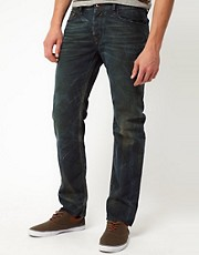 Diesel - Waykee 0808H - Jeans regular fit con lavaggio verde patinato