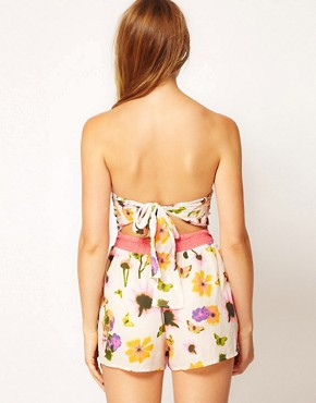 Image 2 ofRiver Island Butterfly Flower Print Bandeau Playsuit