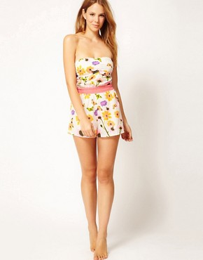 Image 4 ofRiver Island Butterfly Flower Print Bandeau Playsuit