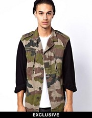 Reclaimed Vintage Camo Jacket with Denim Sleeves