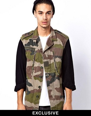 Image 1 ofReclaimed Vintage Camo Jacket with Denim Sleeves
