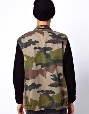 Image 2 ofReclaimed Vintage Camo Jacket with Denim Sleeves