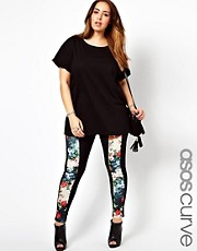 Esclusiva ASOS CURVE - Leggings con pannello a fiori