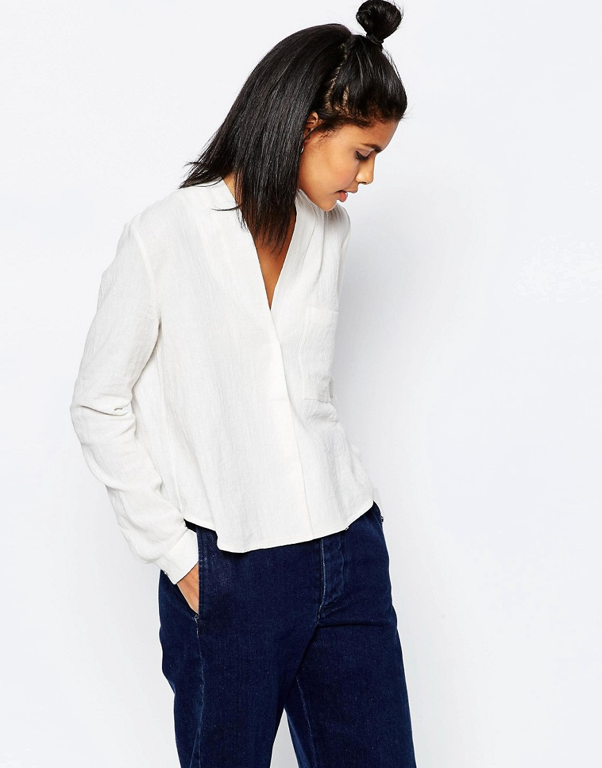 Image 1 of ASOS Casual Textured V Neck Blouse