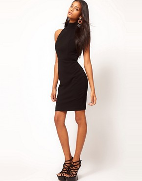 Image 4 of Aqua Secil Buckle High Neck Open Back Pencil Dress