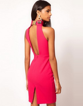 Image 1 of Aqua Secil Buckle High Neck Open Back Pencil Dress