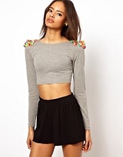 ASOS - Top corto con vistose borchie multiple