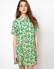 Equipment Naomi Silk Shirt Dress in Bright Camo