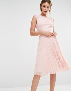 Elise Ryan Pleated Midi Dress With Eyelash Lace Sleeves