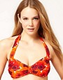 Image 1 ofASOS 50s Poppy Print Halter Fuller Bust Bikini Top