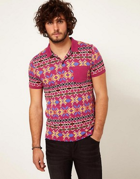 Image 1 of ASOS Polo With Geo Print