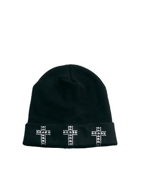 Image 2 ofASOS Cross Stud Boyfriend Beanie