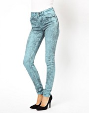 ASOS Ridley Supersoft High Waist Ultra Skinny Jeans In Aqua Marble Wash