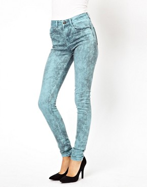 Image 1 ofASOS Ridley Supersoft High Waist Ultra Skinny Jeans In Aqua Marble Wash