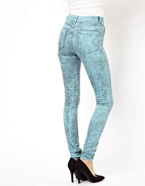 Image 2 ofASOS Ridley Supersoft High Waist Ultra Skinny Jeans In Aqua Marble Wash