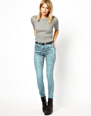Image 4 ofASOS Ridley Supersoft High Waist Ultra Skinny Jeans In Aqua Marble Wash
