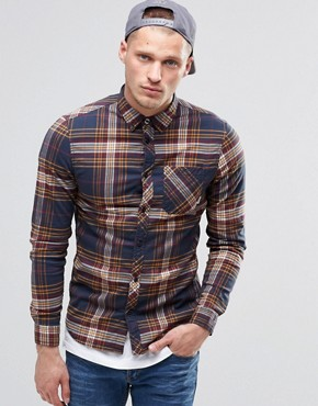 Element Buffalo Check Flannel Shirt Eclipse Navy Buttondown