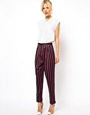 ASOS Peg Trousers In Stripe