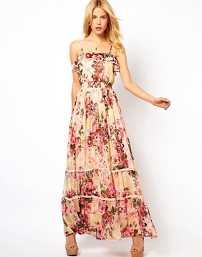 Image 1 ofYumi Floral Maxi Dress With Sequins