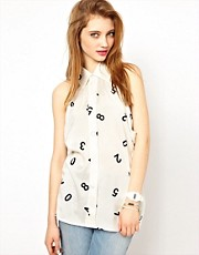 Ashish Halter Neck Shirt in Numbers Print
