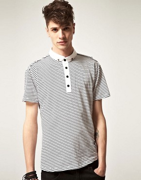 Image 1 ofReligion Skull Button Striped Polo