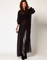 Diesel Sheer Maxi Shirt Dress