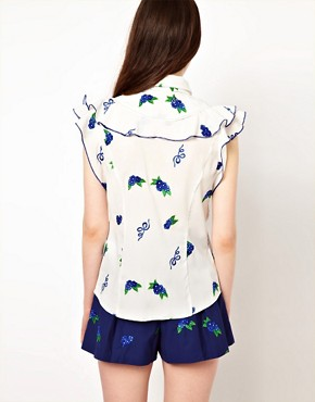 Image 2 ofNishe Blouse with Frill Front and Floral Embroidery
