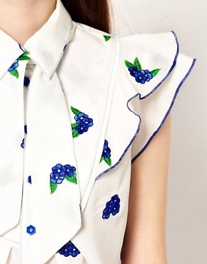 Image 3 ofNishe Blouse with Frill Front and Floral Embroidery