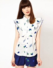 Nishe Blouse with Frill Front and Floral Embroidery
