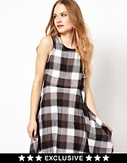 Minkpink Pinafore Dress In Check