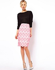 ASOS Pencil Skirt with Neon Embroidery