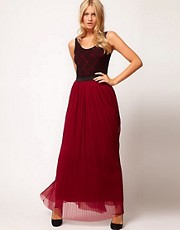 Love Lace Top Pleat Maxi Dress