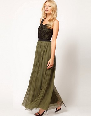 Image 1 ofLove Lace Top Pleat Maxi Dress