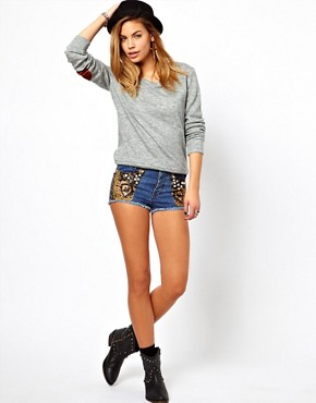 Image 4 ofGlamorous Marl Jumper in Fine Jersey with Elbow Patch
