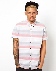Vans Shirt Wareham Slim Short Sleeve Striped Chambray