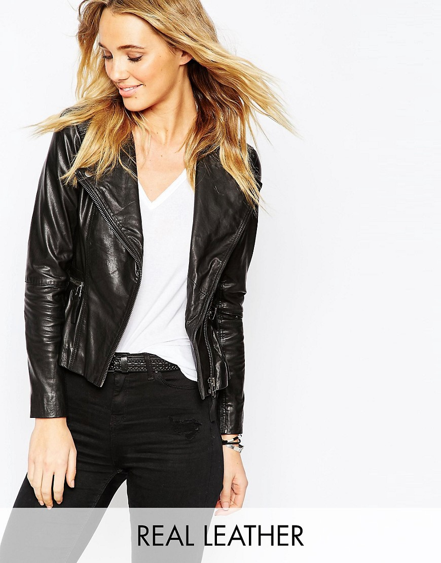 ASOS Leather Jacket With Pephem And Zip Detail