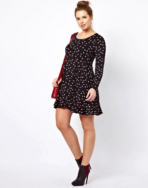 Image 3 ofASOS CURVE Skater Dress With Hummingbird Print