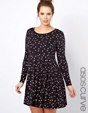 Image 1 ofASOS CURVE Skater Dress With Hummingbird Print