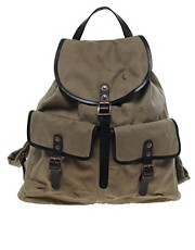 Plectrum By Ben Sherman Rucksack Leather Trimmed Parafin Wax