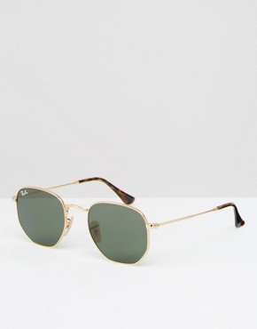 Ray-Ban Hexaganol Flat Lens Round Sunglasses with Gold Frame