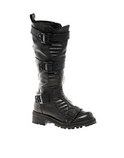 ASOS CASH Leather Knee High Biker Boots