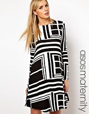ASOS Maternity Swing Dress in Graphic Print