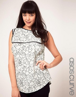 Image 1 ofASOS CURVE Exclusive Top In Gingerbread Print