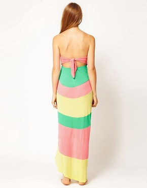 Image 2 ofRiver Island Colour Block Bandeau Maxi Dress With Hi-Lo Hem