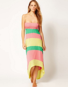 Image 4 ofRiver Island Colour Block Bandeau Maxi Dress With Hi-Lo Hem