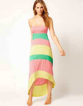 Image 1 ofRiver Island Colour Block Bandeau Maxi Dress With Hi-Lo Hem