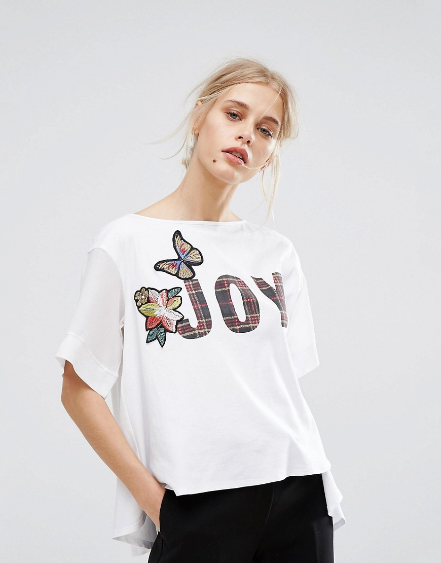 MAX&Co Donata Embroidered T-Shirt - Optic white